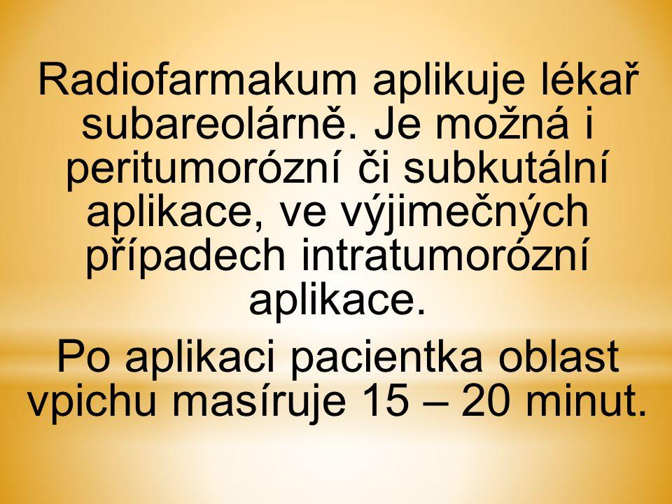 Po aplikaci pacientka oblast vpichu masíruje 15 – 20 minut.