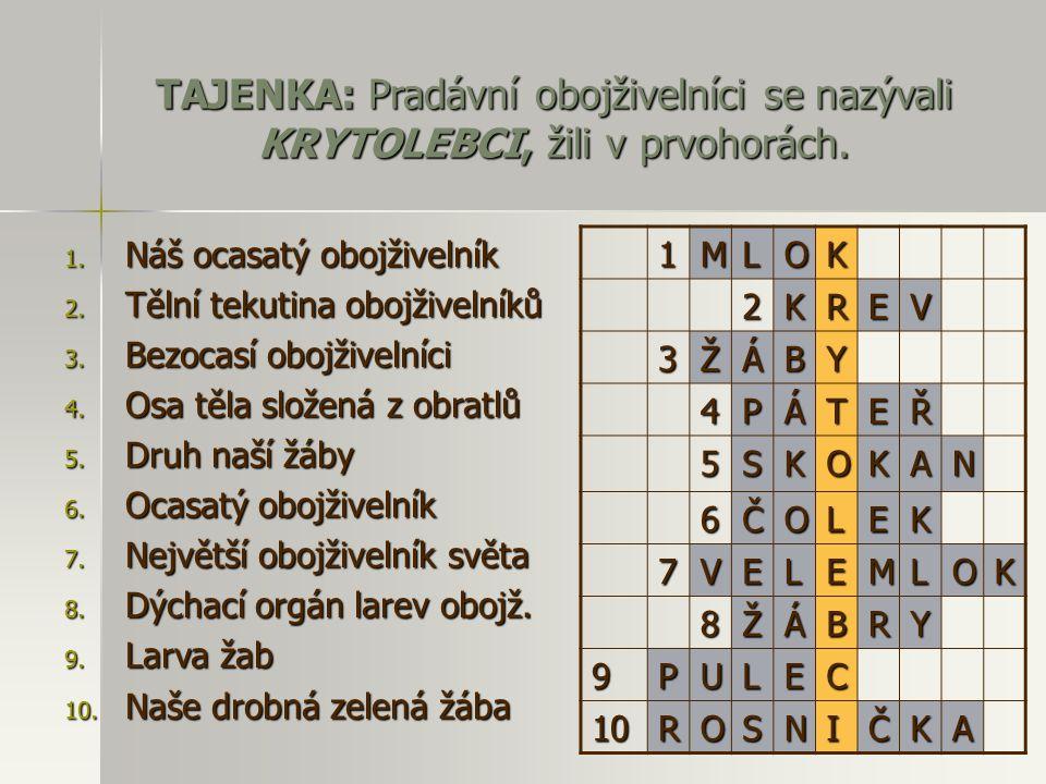 TAJENKA: Pradávní obojživelníci se nazývali KRYTOLEBCI, žili v prvohorách.