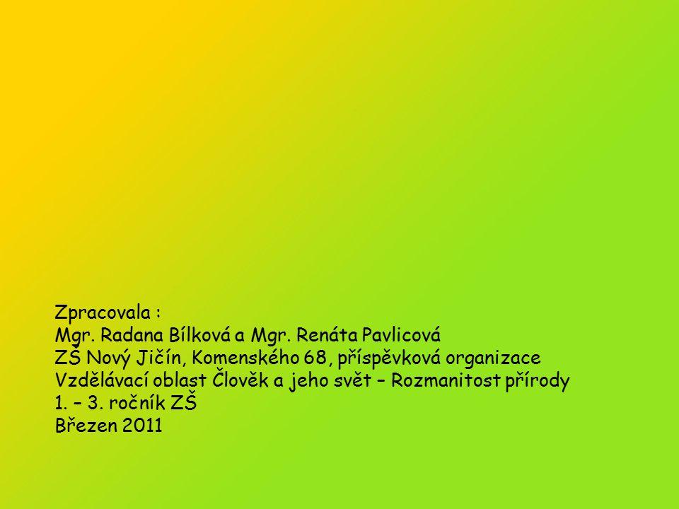 Zpracovala : Mgr. Radana Bílková a Mgr. Renáta Pavlicová. ZŠ Nový Jičín, Komenského 68, příspěvková organizace.