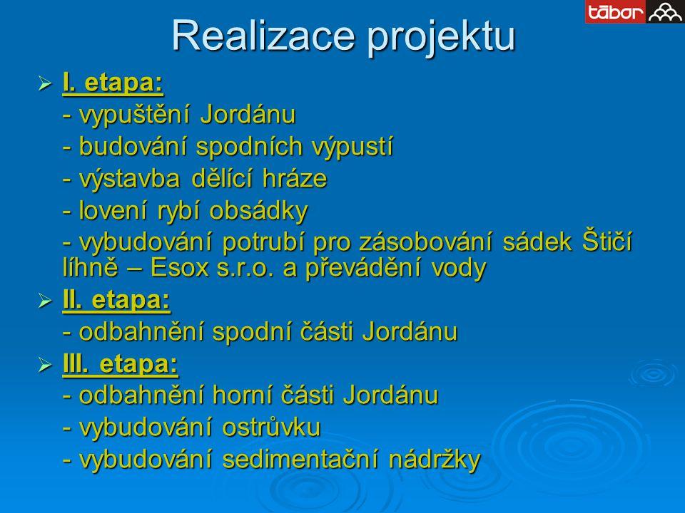 Realizace projektu I. etapa: - vypuštění Jordánu