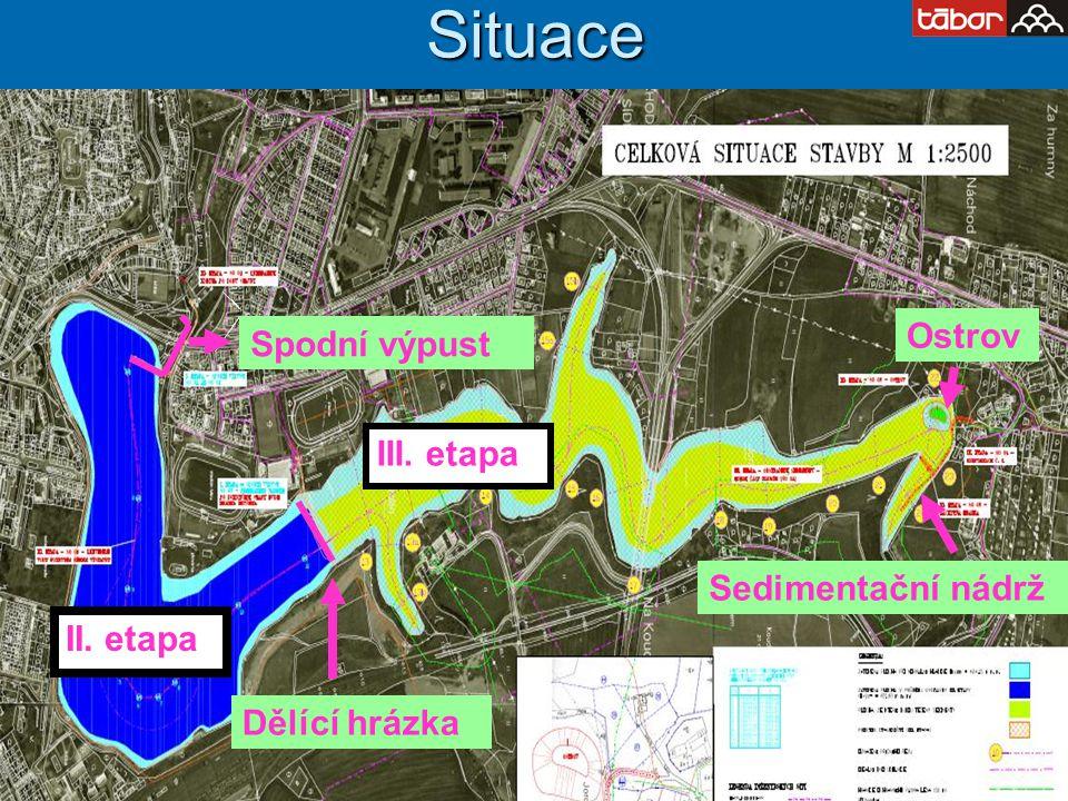 Situace Ostrov Spodní výpust III. etapa Sedimentační nádrž II. etapa