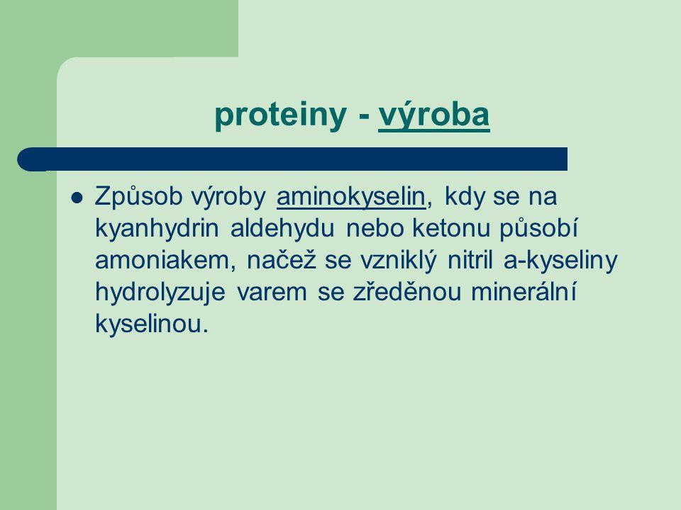 proteiny - výroba