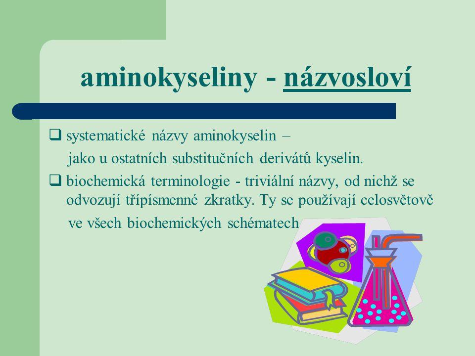 aminokyseliny - názvosloví