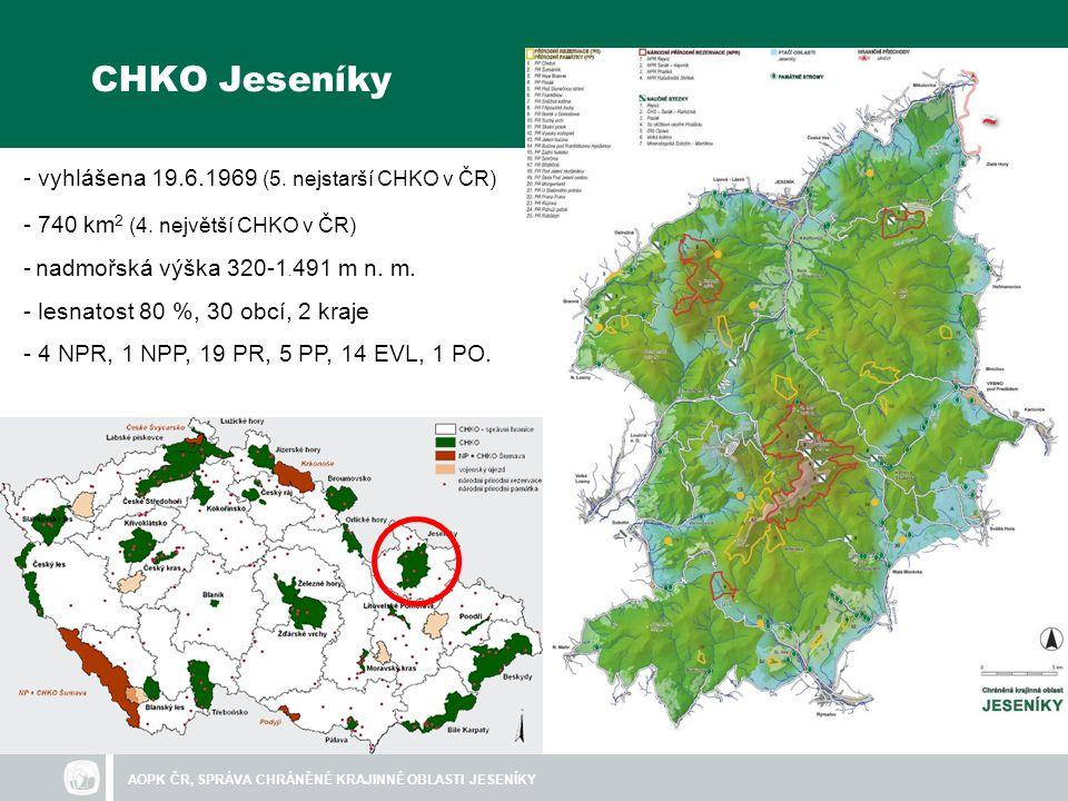 CHKO Jeseníky - vyhlášena 19.6.1969 (5. nejstarší CHKO v ČR)