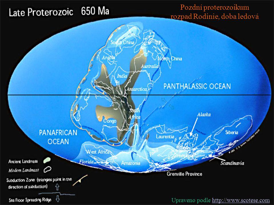 Pozdní proterozoikum rozpad Rodinie, doba ledová