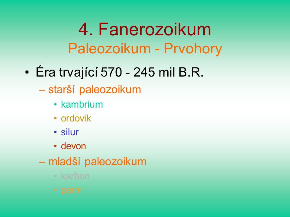 4. Fanerozoikum Paleozoikum - Prvohory
