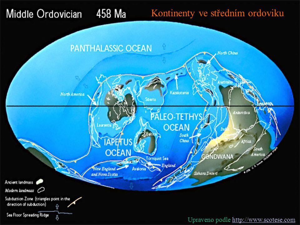 Kontinenty ve středním ordoviku