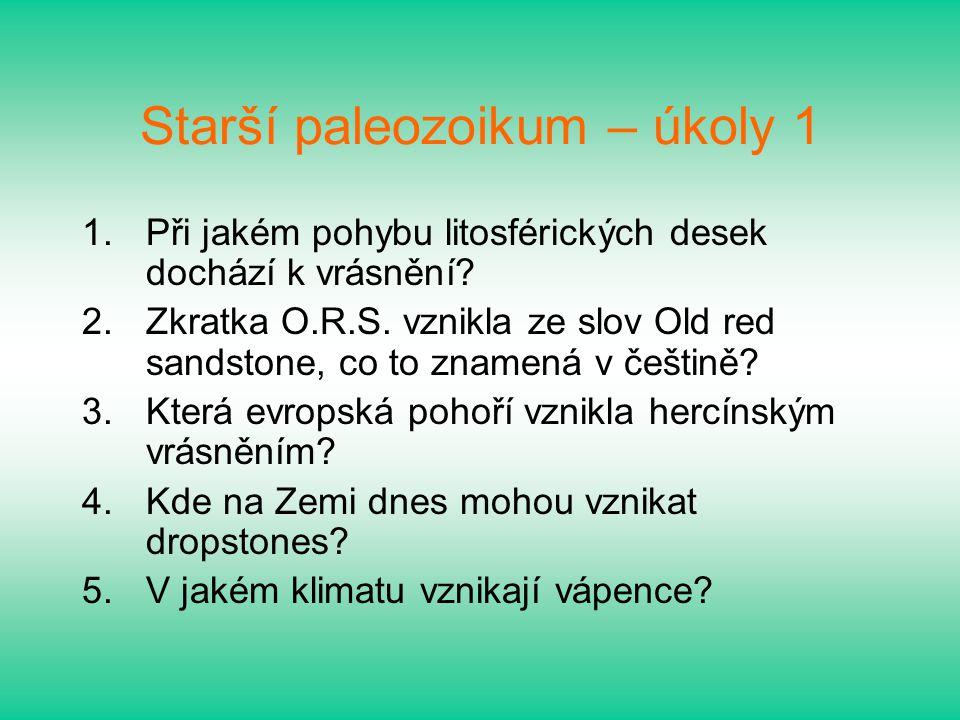 Starší paleozoikum – úkoly 1
