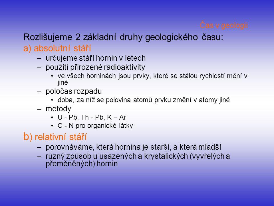 b) relativní stáří Rozlišujeme 2 základní druhy geologického času: