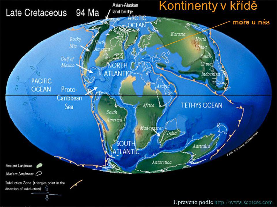 Kontinenty v křídě moře u nás Upraveno podle http://www.scotese.com