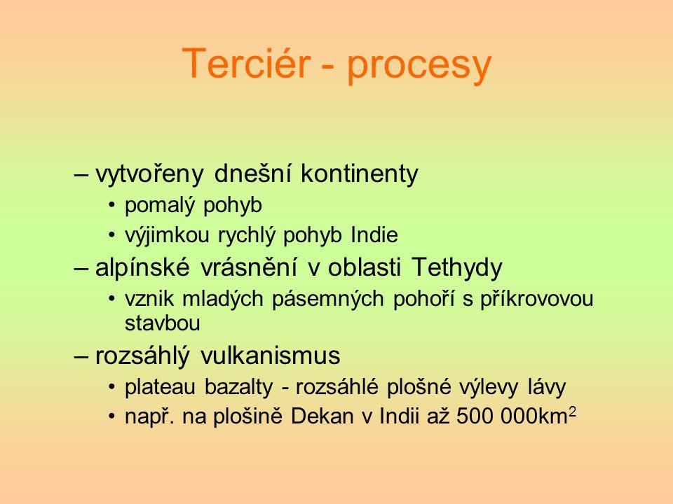 Terciér - procesy vytvořeny dnešní kontinenty