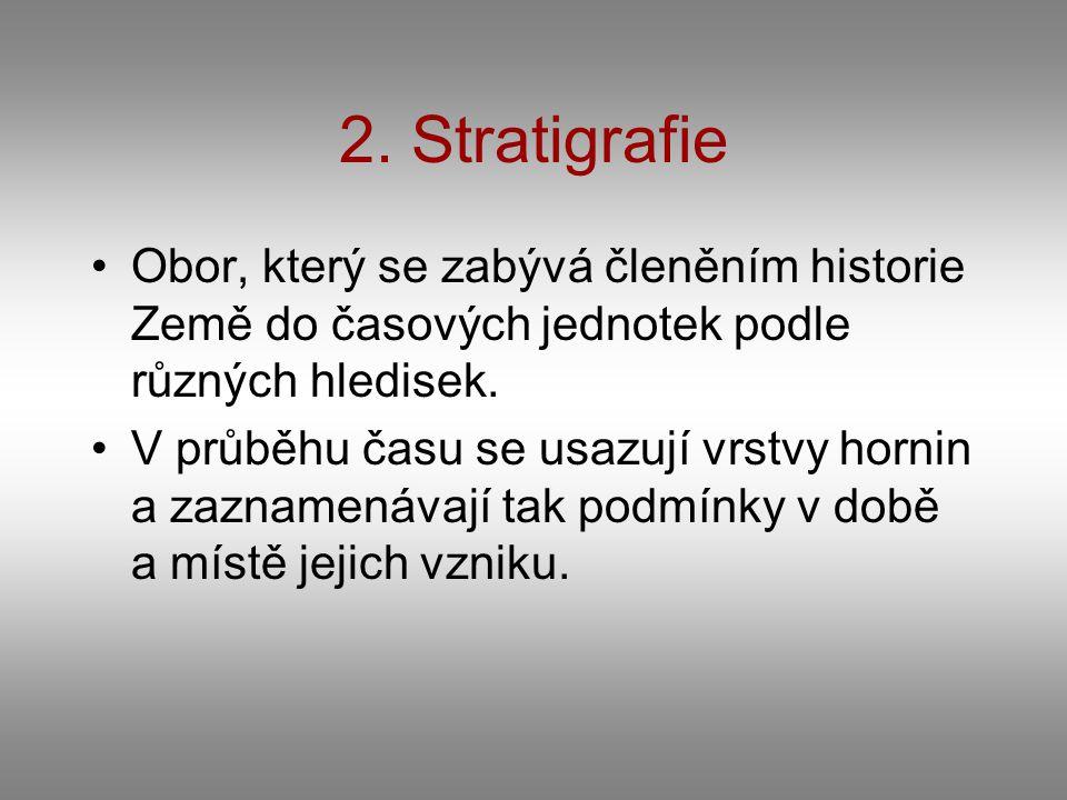2. Stratigrafie Obor, který se zabývá členěním historie Země do časových jednotek podle různých hledisek.
