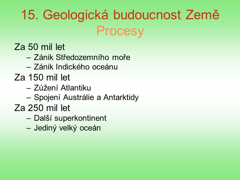 15. Geologická budoucnost Země Procesy