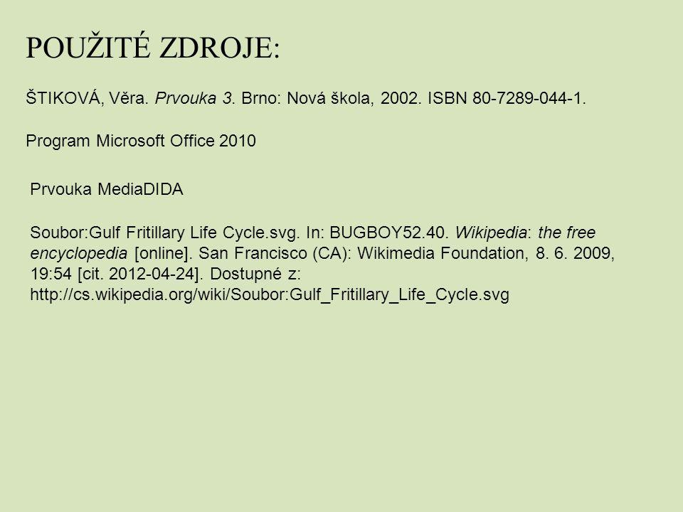 POUŽITÉ ZDROJE: ŠTIKOVÁ, Věra. Prvouka 3. Brno: Nová škola, 2002. ISBN 80-7289-044-1. Program Microsoft Office 2010.