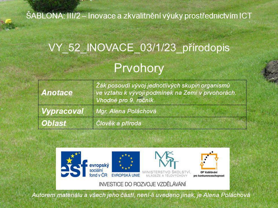 Prvohory VY_52_INOVACE_03/1/23_přírodopis