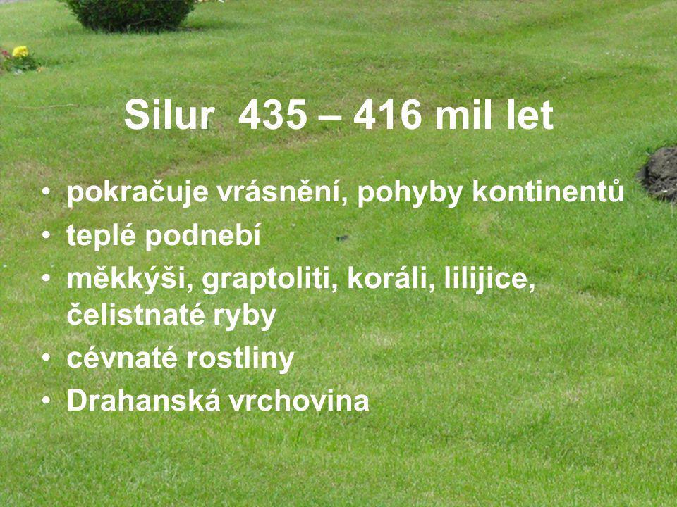 Silur 435 – 416 mil let pokračuje vrásnění, pohyby kontinentů