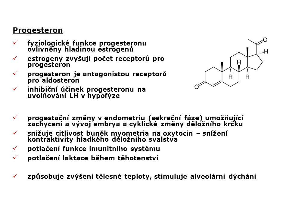 Progesteron fyziologické funkce progesteronu ovlivněny hladinou estrogenů. estrogeny zvyšují počet receptorů pro progesteron.