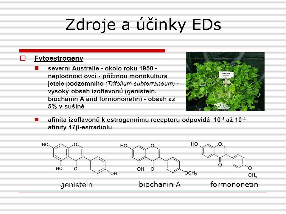 Zdroje a účinky EDs Fytoestrogeny genistein biochanin A formononetin