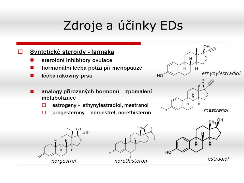 Zdroje a účinky EDs Syntetické steroidy - farmaka