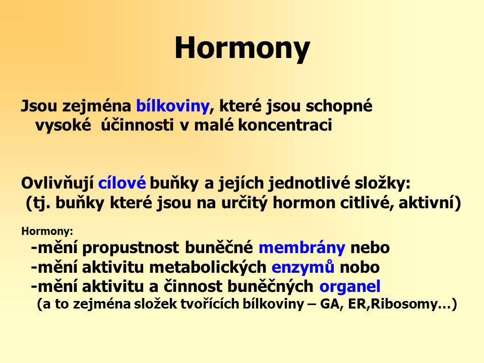 Hormony Jsou zejména bílkoviny, které jsou schopné