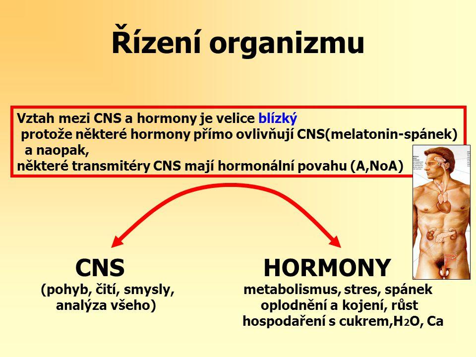 Řízení organizmu CNS HORMONY Vztah mezi CNS a hormony je velice blízký