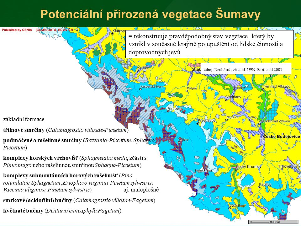 Potenciální přirozená vegetace Šumavy