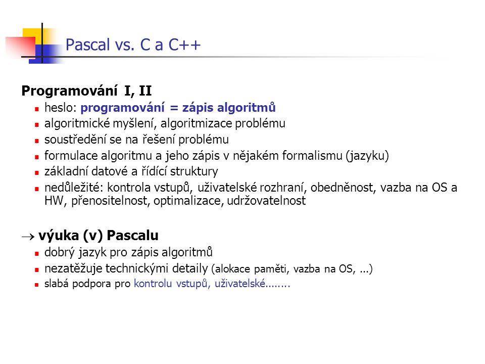 Pascal vs. C a C++ Programování I, II  výuka (v) Pascalu