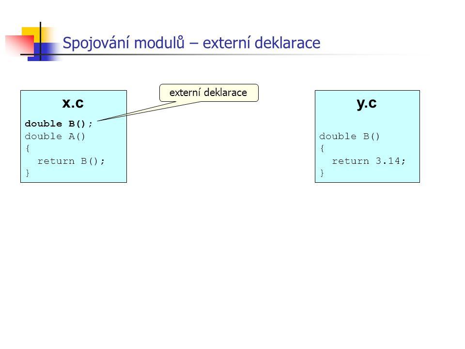 Spojování modulů – externí deklarace