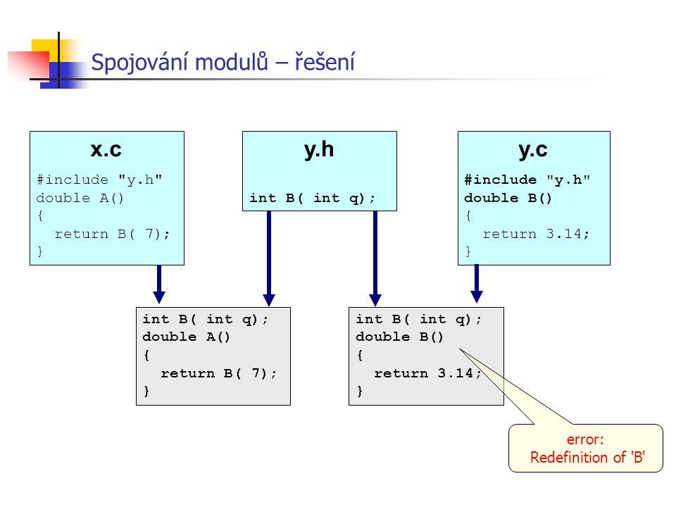 Spojování modulů – řešení