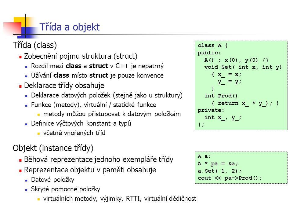 Třída a objekt Třída (class) Objekt (instance třídy)
