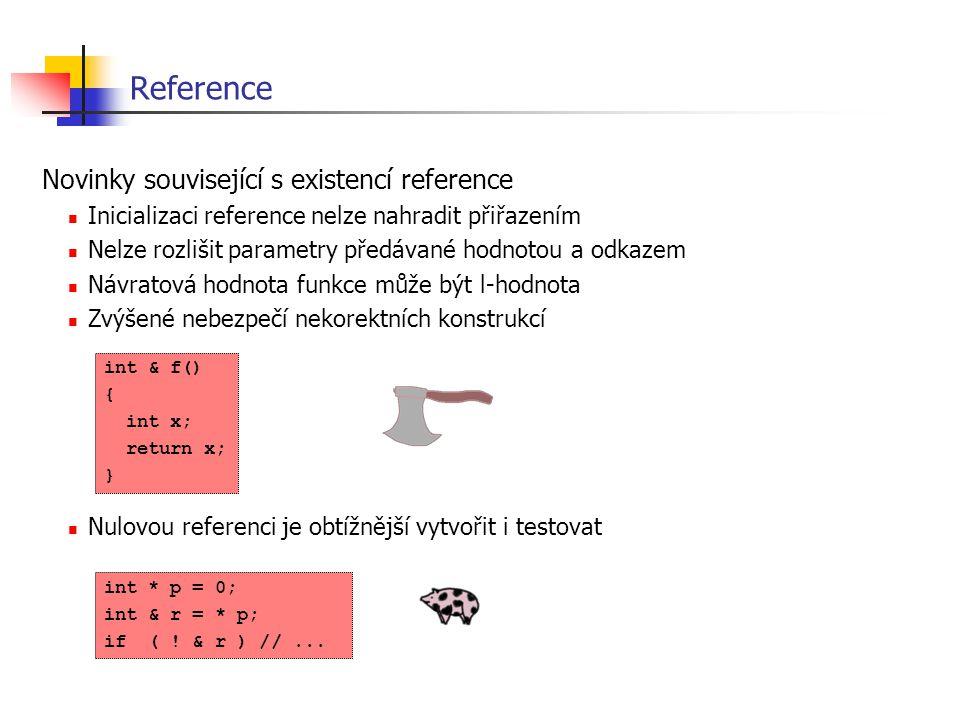 Reference Novinky související s existencí reference