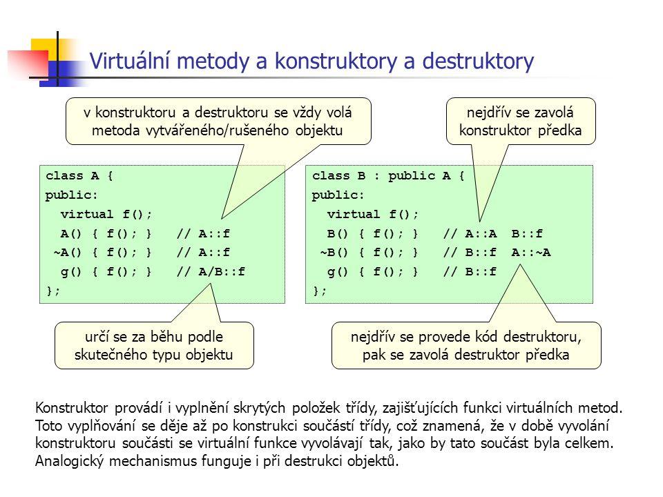 Virtuální metody a konstruktory a destruktory