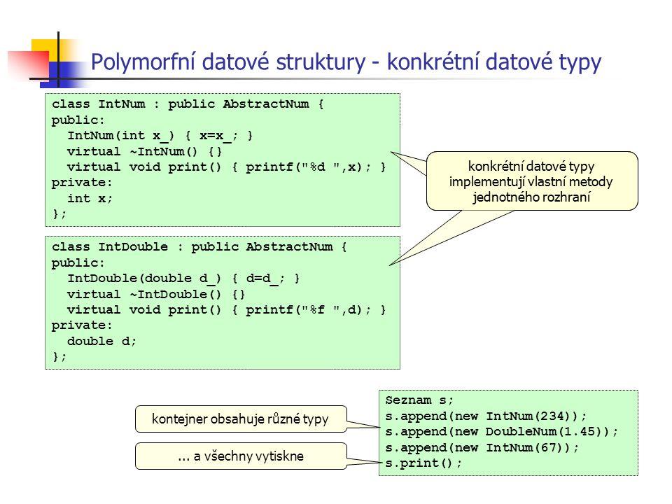 Polymorfní datové struktury - konkrétní datové typy