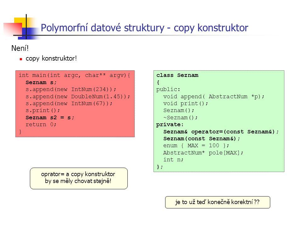 Polymorfní datové struktury - copy konstruktor