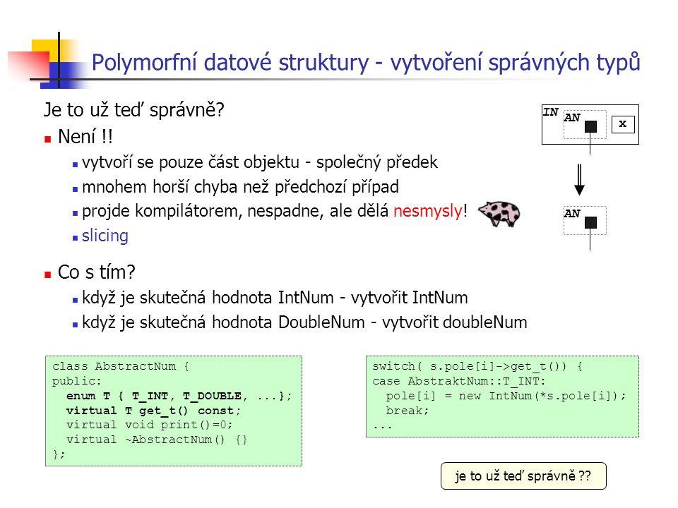 Polymorfní datové struktury - vytvoření správných typů