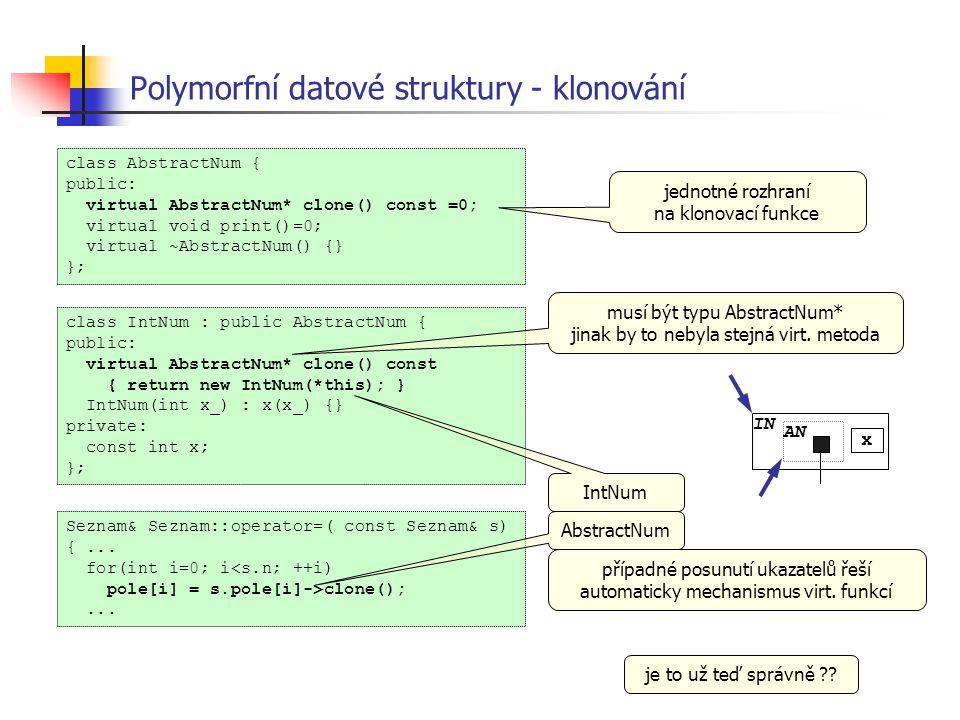 Polymorfní datové struktury - klonování