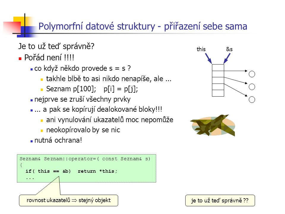 Polymorfní datové struktury - přiřazení sebe sama