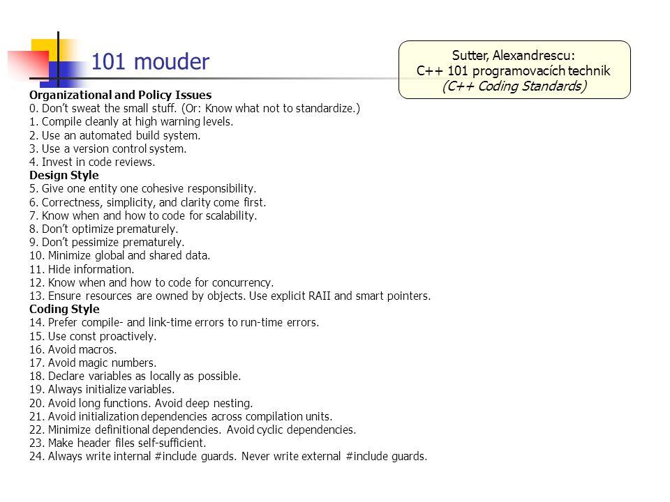 101 mouder Sutter, Alexandrescu: C++ 101 programovacích technik