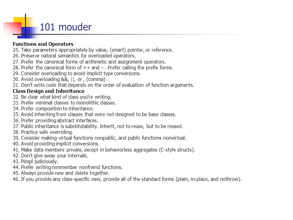 101 mouder Functions and Operators