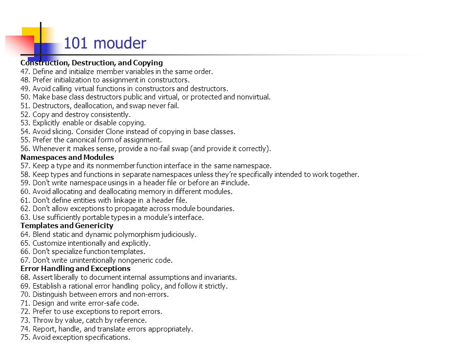 101 mouder Construction, Destruction, and Copying