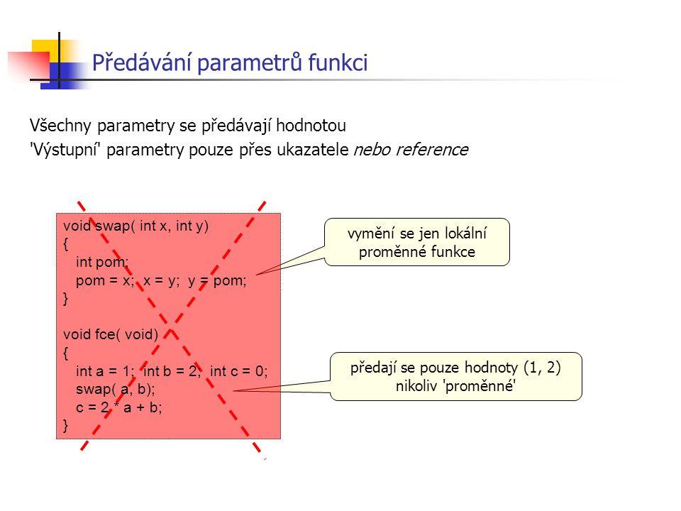 Předávání parametrů funkci