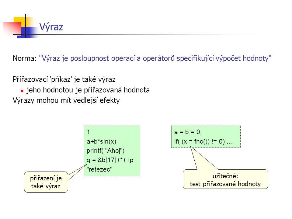 Výraz Norma: Výraz je posloupnost operací a operátorů specifikující výpočet hodnoty Přiřazovací příkaz je také výraz.