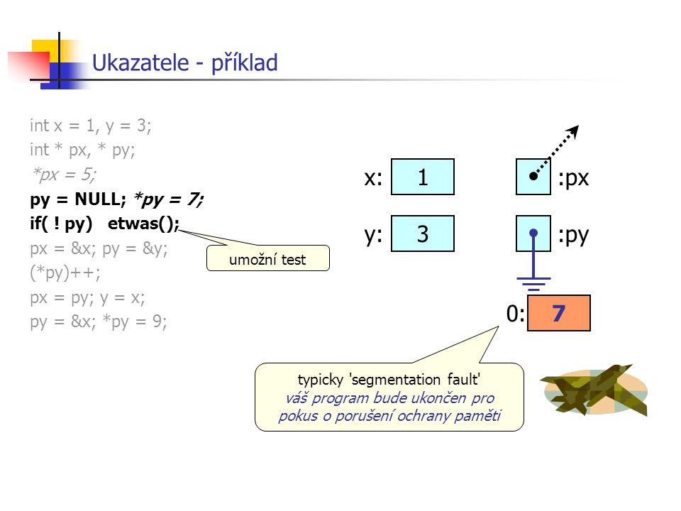Ukazatele - příklad x: 1 :px y: 3 :py 0: 7 int x = 1, y = 3;