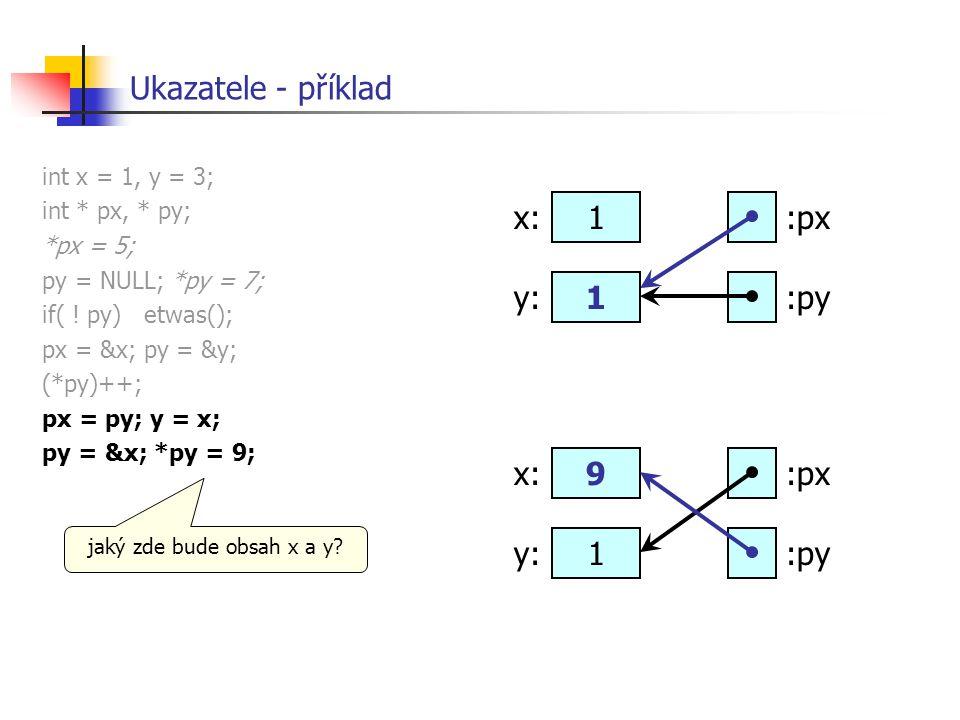 Ukazatele - příklad x: 1 :px y: 1 :py x: 9 :px y: 1 :py
