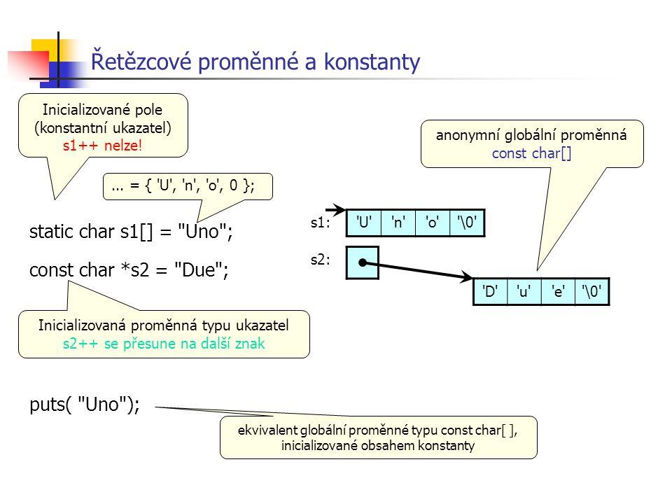 Řetězcové proměnné a konstanty
