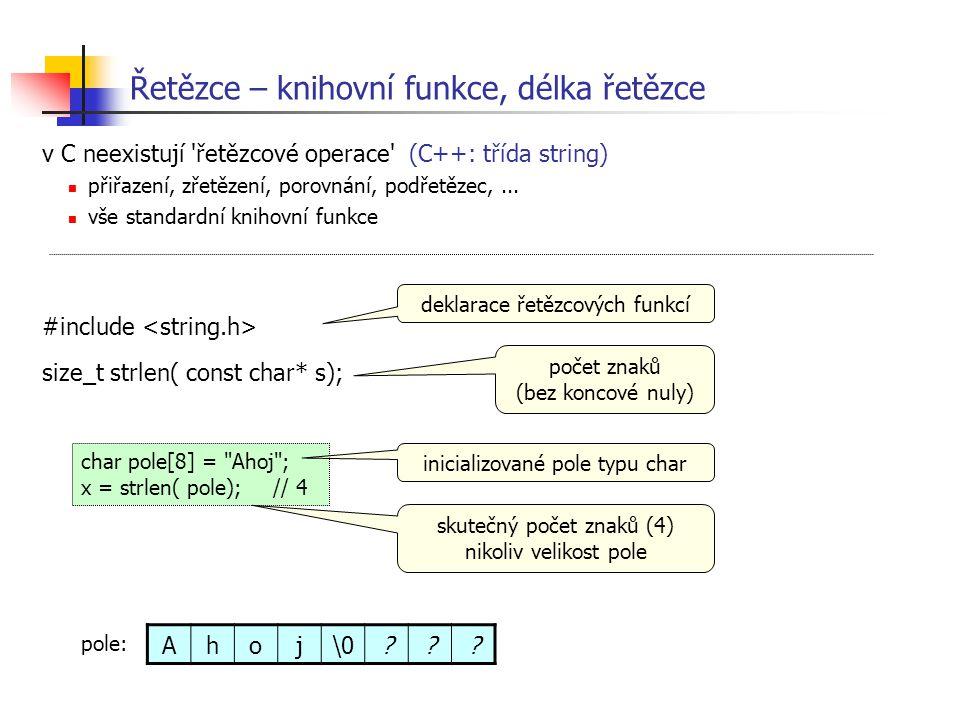 Řetězce – knihovní funkce, délka řetězce