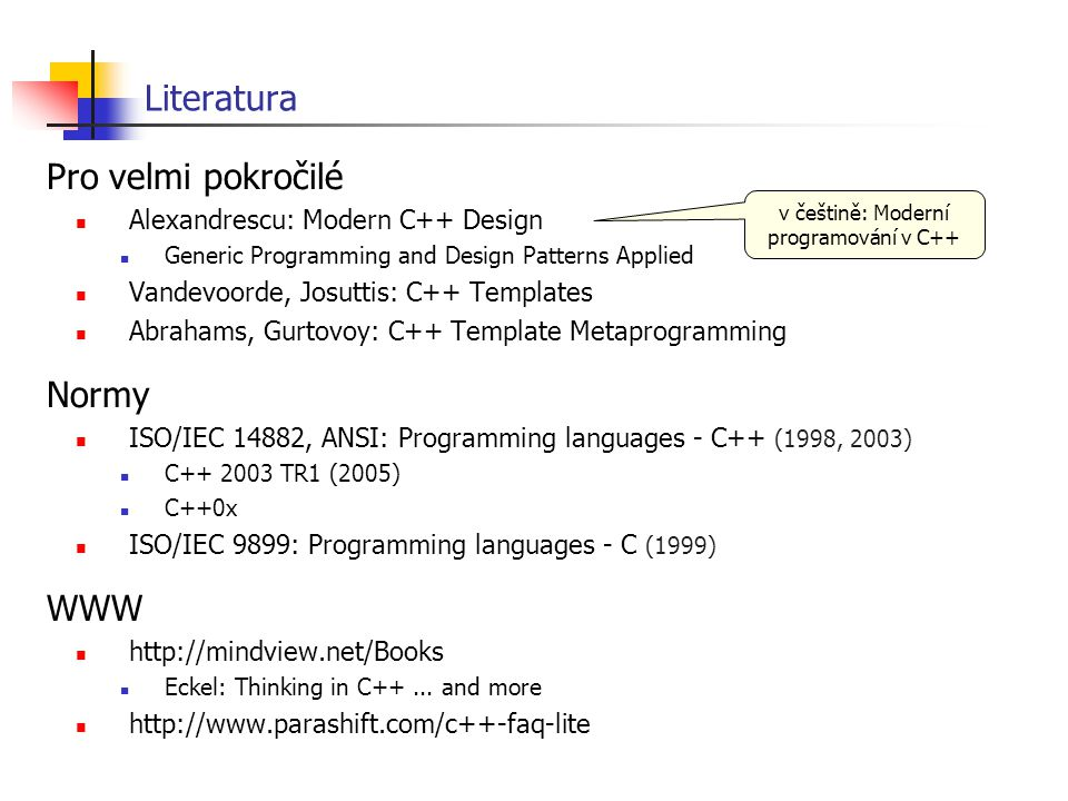 v češtině: Moderní programování v C++