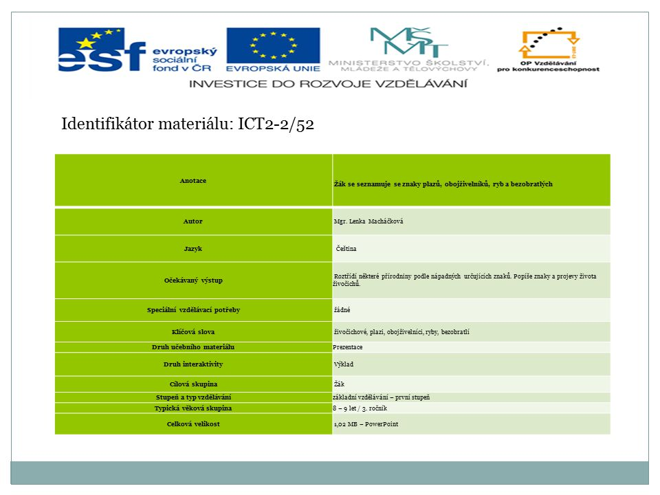 Identifikátor materiálu: ICT2-2/52