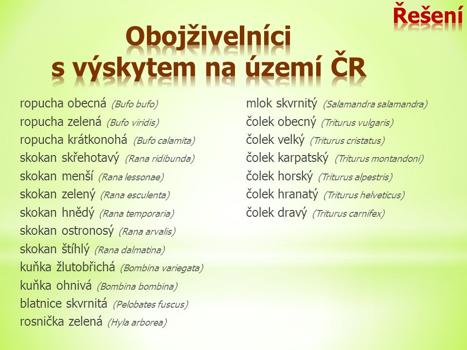 Obojživelníci s výskytem na území ČR