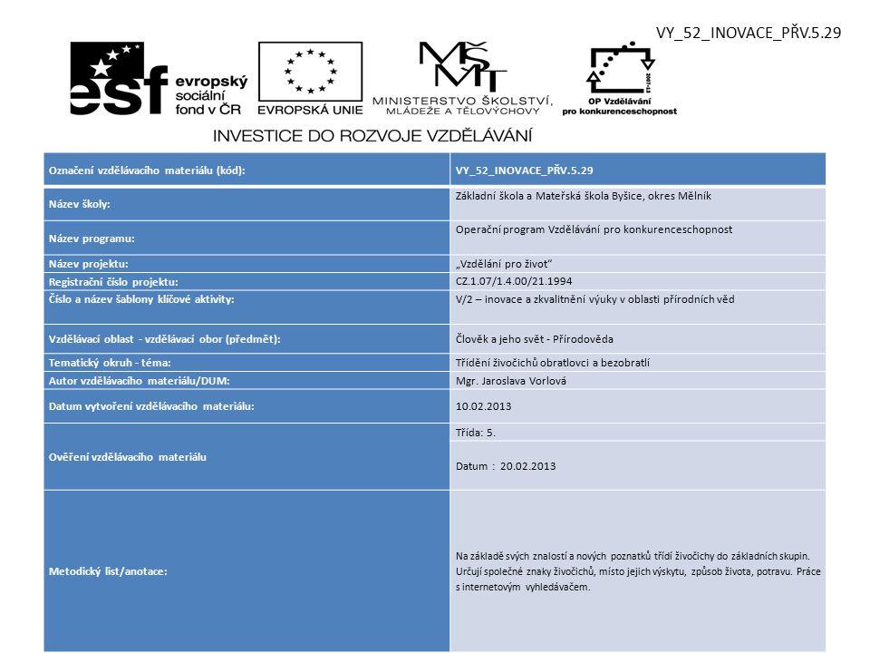 VY_52_INOVACE_PŘV.5.29 Označení vzdělávacího materiálu (kód):